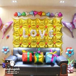 Tường bong bóng bạc trang trí sinh nhật cho bé TBB049
