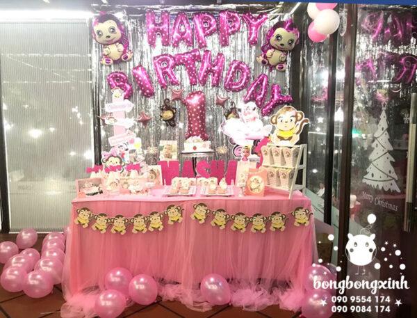 Trang trí bàn sinh nhật chủ đề khỉ con BQ143