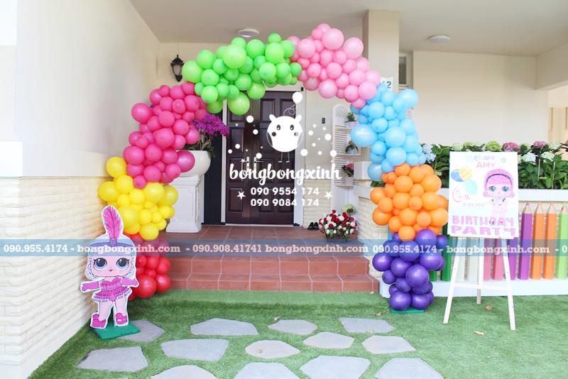 Cổng chào trang trí sinh nhật nhiều màu sắc theo chủ đề Lol Surprise CB152