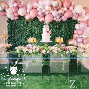Backdrop trang trí để bánh kem màu hồng BRC005