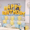 Chữ sinh nhật trang trí happy Birthday vàng đồng trang trí cùng bóng  bay nhiều màu sắc
