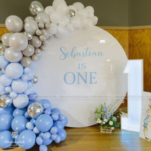 Trang trí sinh nhật tiểu cảnh backdrop tròn xanh