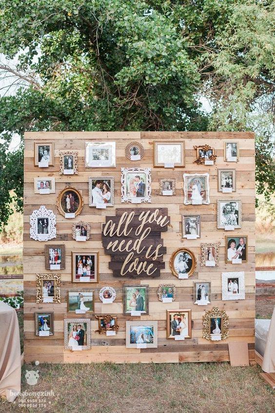 Backdrop tiệc cưới ngoài trời gỗ pallet BRC009