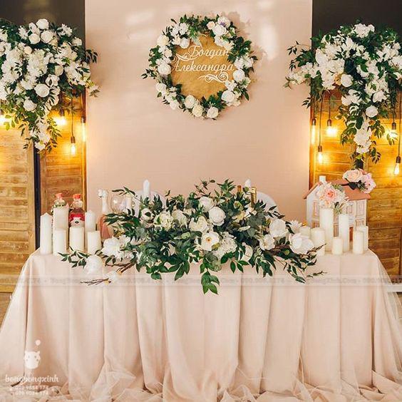 Backdrop tiệc cưới nến và hoa BRC010