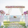 Bộ sản phẩm đường dẫn trang trí tiệc cưới ngoài trời đơn giản DDTC039