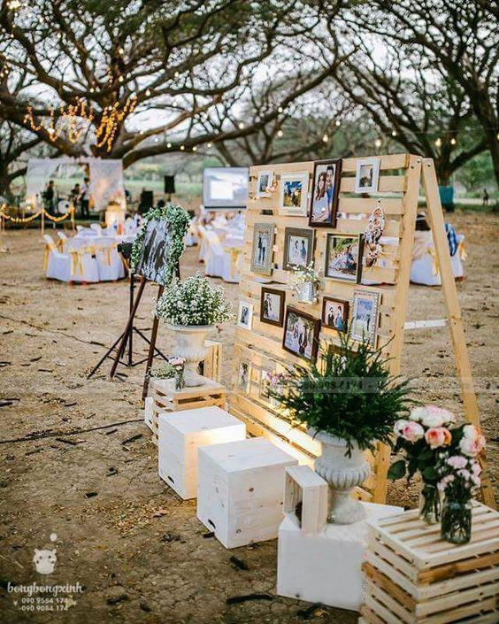 Trang trí đám cưới ngoài trời đẹp với bộ backdrop Memory BRC013