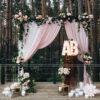 Backdrop tiệc cưới cổng hoa trang trí ngoài trời BRC016