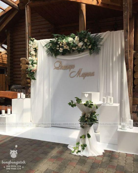 Backdrop tiệc cưới trắng tinh khôi BRC017