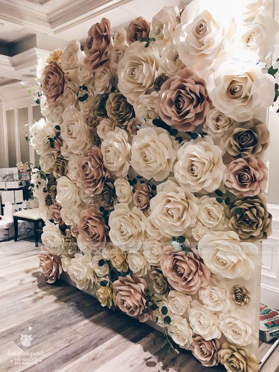 Backdrop tiệc cưới hoa giấy BRC019