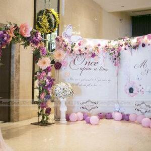 Backdrop tiệc cưới màu hồng khói BRC020