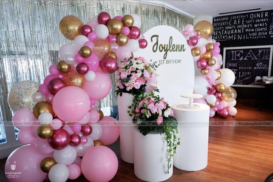 Backdrop thôi nôi tiểu cảnh sinh nhật hồng trắng TCSN003