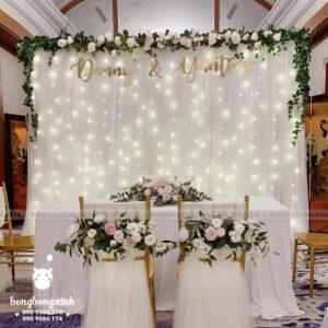 Backdrop tiệc cưới hoa cùng dây đèn trắng BRC022