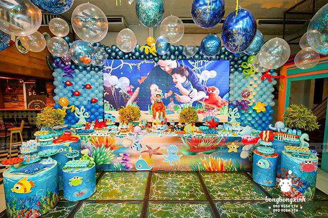 Backdrop sinh nhật bé trai chủ đề biển xanh BBBN147
