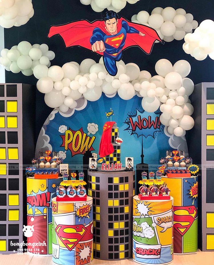 Backdrop sinh nhật cho bé chủ đề Superman BBBN149
