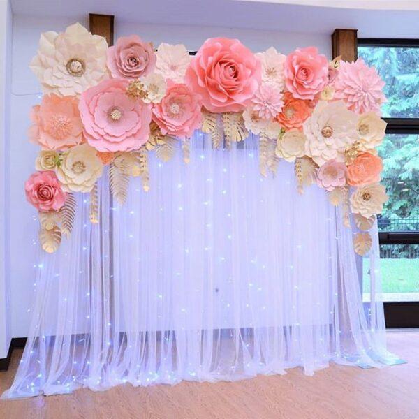 Backdrop tiệc cưới vải voan hoa giấy BBX052