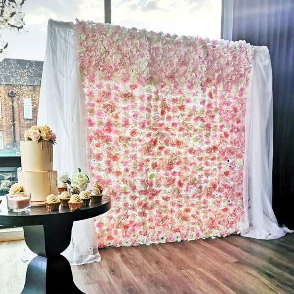 Backdrop trang trí tiệc cưới hoa và vải voan BBX065