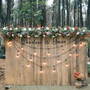 Backdrop tiệc cưới gỗ pallet cùng dây đèn BBX087