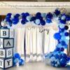 Backdrop sinh nhật tại nhà xanh dương bé trai BBX106