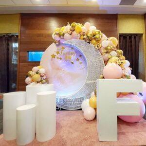 Trang trí sinh nhật trọn gói trắng hồng BBX137