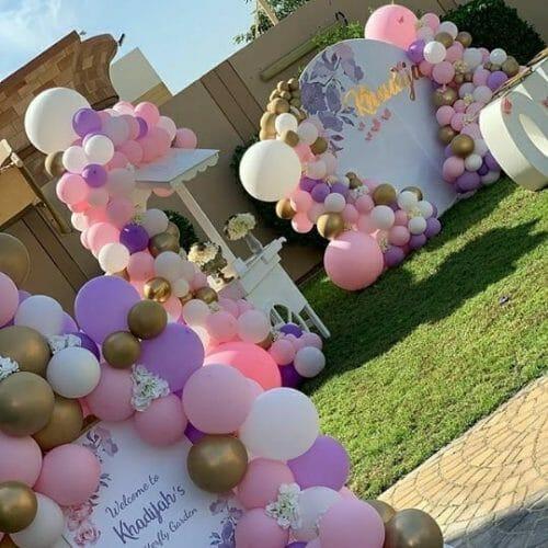 Trang trí sinh nhật trọn gói ngoài sân cho bé gái BBX216