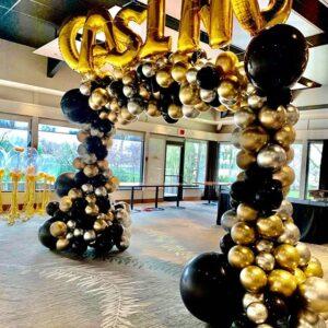 Cổng chào khai trương bóng chrome vàng đồng, bạc và đen BBX228