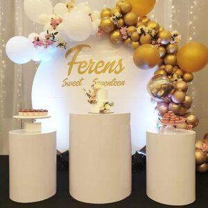 Trang trí sinh nhật trọn goi vàng đồng và trắng BBX270