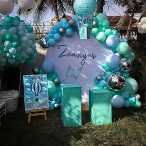 Trang trí sinh nhật trọn gói màu trắng và xanh ngọc BBX273
