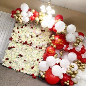 Backdrop trang trí giáng sinh đỏ và trắng BBX277
