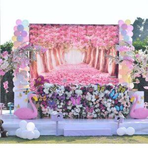 Backdrop tiệc cưới hồng hạc BBX294