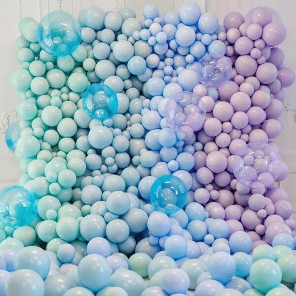 Tường bong bóng trang trí party xanh dương, tím BBX338