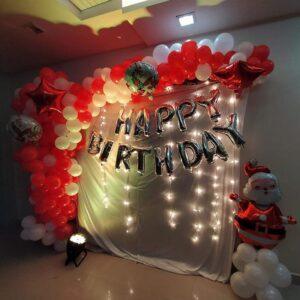 Backdrop sinh nhật  bong bóng cho mùa giáng sinh trang trí tại nhà BBX339