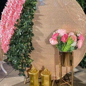 Backdrop sinh nhật vàng hồng sang trọng BBX351