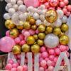 Tường bong bóng trang trí party vàng đồng, hồng và trắng BBX365