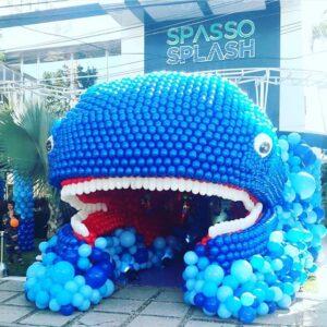 Cổng chào bong bóng sinh nhật tạo hình cá voi BBX407