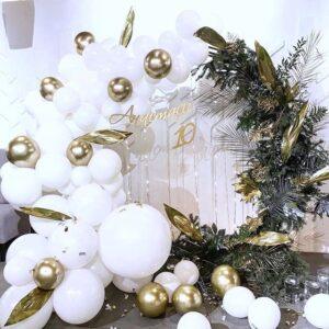 Tiểu cảnh sinh nhật trang trí bong bóng trắng, vàng đồng BBX423