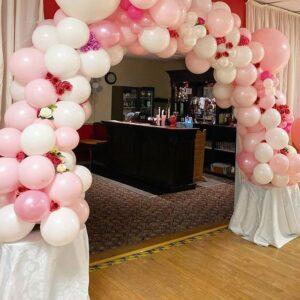Cổng bong bóng trang trí sinh nhật màu hồng và trắng BBX435