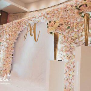 Backdrop tiệc cưới hoa tươi BBX390 lãng mạn