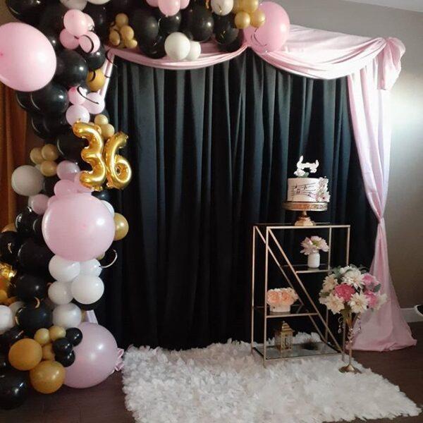 Backdrop sinh nhật tông màu đen, hồng, vàng BBX456