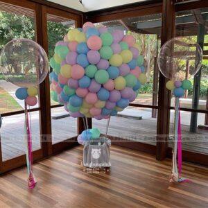 Tiểu cảnh sinh nhật bong bóng khinh khí cầu TCSN006