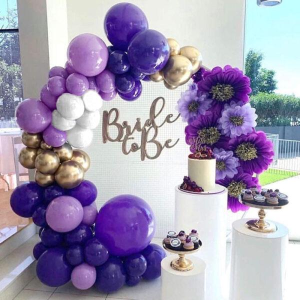 Backdrop tiệc cưới màu tím thủy chung BBX497