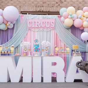 Backdrop sinh nhật dễ thương và sang trọng cho bé gái BBX499