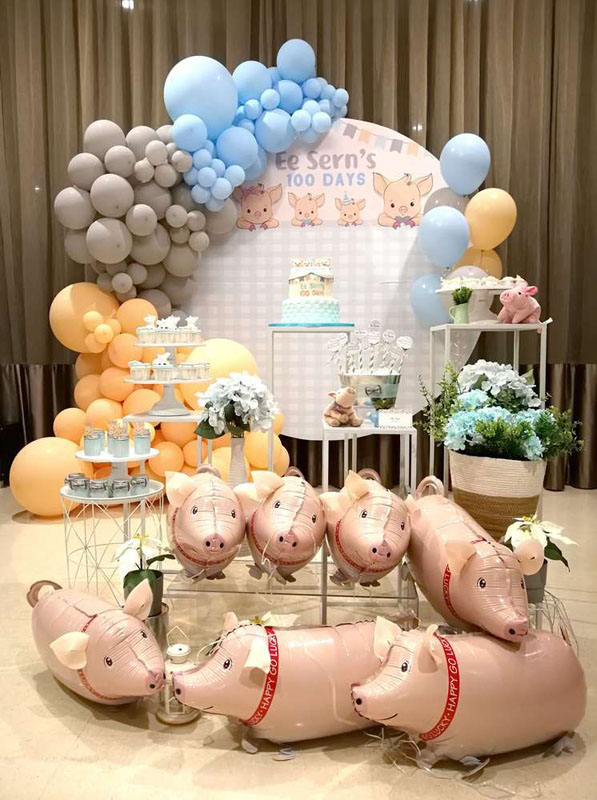 Backdrop trang trí sinh nhật chủ đề con Heo BBX510