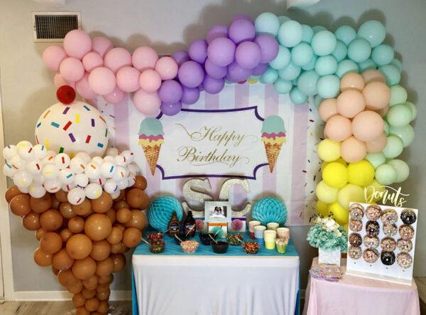 Backdrop trang trí sinh nhật chủ đề Ice Cream BBX511