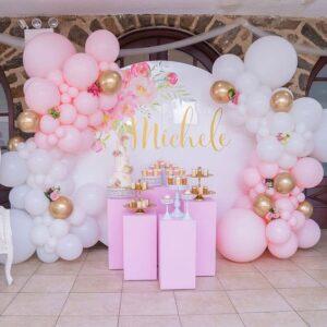 Backdrop sinh nhật trắng hồng sang trọng BBX521