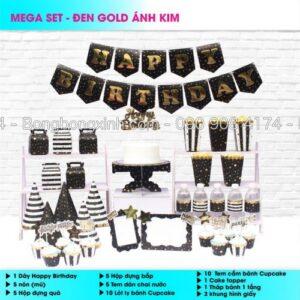 Set trang trí sinh nhật Đen Gold Ánh Kim BBX556