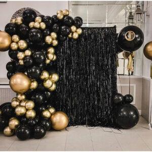 Backdrop sinh nhật vàng đen huyền bí BBX582
