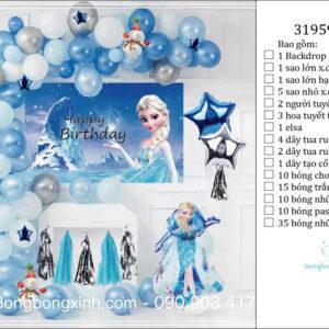 Set trang trí sinh nhật chủ đề ngựa công chúa Elsa BBX586