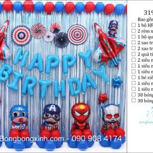 Set trang trí sinh nhật chủ đề Siêu Siêu Anh Hùng BBX589