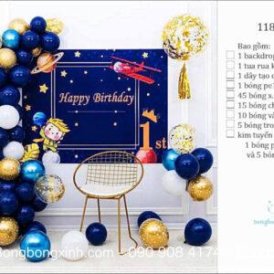 Set trang trí sinh nhật chủ đề Không Gian BBX590