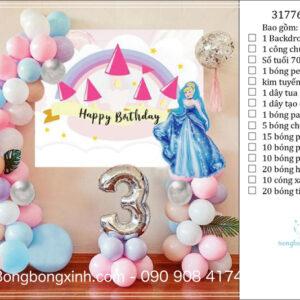 Set trang trí sinh nhật chủ đề Công Chúa Lọ Lem BBX591